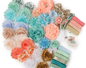 Under the Boardwalk : DELUXE DIY Flower Elastic Headband Kit | MAKES 25+ Hair Accessories | Baby Showers + Birthdays Mint Green Peach