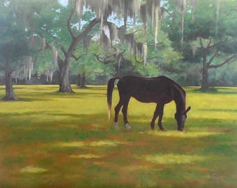 """Oil Painting, """"Horse Country,"""" 18x24 Original Oil on Canvas, Equine Art"""