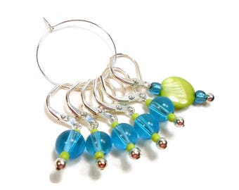 Removable Stitch Markers, Crochet Tools, Locking Row Markers, Blue, Lime Green, Knitting Supplies, DIY Crafts