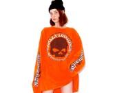 vintage HARLEY DAVIDSON shirt xtra long grunge skater sleeves SKULL tee flame spell out sleeves 3xl xxl t shirt dress biker motorcycle 90s
