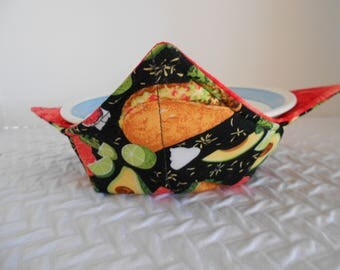 Microwave Bowl Cozy. Yummy Taco Cozy, Soup Bowl Warmer, Ice Cream Bowl Holder, Hot Cold Bowl Cover, Fabric Bowl Cozie, Reversible Cozy