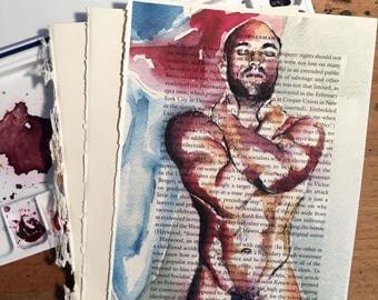 Muscular Nude Male with Arms Crossed on Vintage Book Paper by Artist Brenden Sanborn