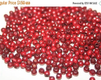SUMMER CLEARANCE SALE - Small Round Cherry Red Wood Beads - 4mm - 150