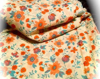 Retro Fabric / Almost 10 Yards / Orange Floral Fabric / by the yard  / 70s Flower Material / Sewing Supplies / Craft Supplies