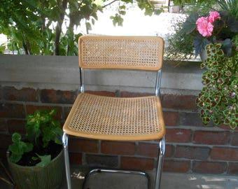 Marcel Breuer style chair beech + chrome Cesca desk chair cane kitchen chair raffia dining side chair