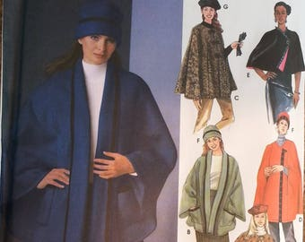 Easy to Sew Poncho Cape Simplicity 5309 Misses Poncho Cape and Hat Pattern MIsses Sizes included; Small 10-12 Medium 14-16 Large 18-20