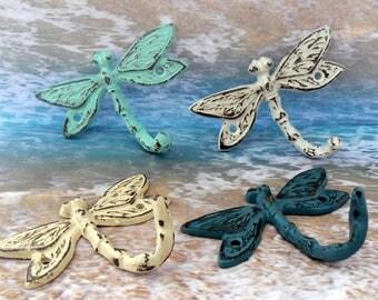 Dragonfly Set 4 Hooks Cast Iron Shabby Chic MINI Wall Hook Teal White Blue Yellow