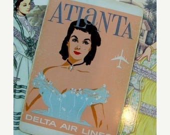 ONSALE Vintage Atlanta Delta Airlines Playing Cards for all Ya'll Southern Belles