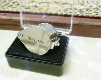 10x Magnifying Loupe w/ Case-Glass Magnifying Jewelry Loupe