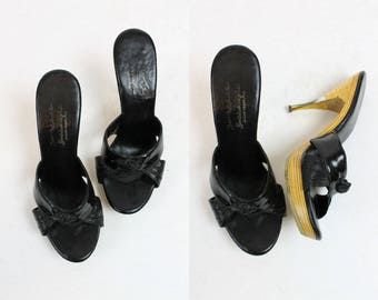50s Shoes Mules Wood Platforms Size 7   / 1950s Vintage Slides  /  Miami Nights Peep Toes