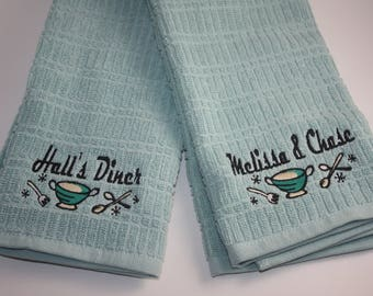 Monogrammed RETRO DINER Kitchen Towel Set of 2- Personalized; Black; Red; Navy; Khaki; Topaz; Lime; Wedding; Housewarming