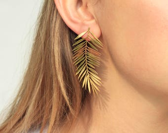 Palm Leaves Earrings-Gold Plated Brass