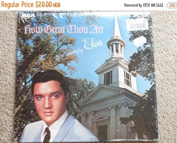 Christmas in July Sale 1967 Elvis Presley gospel vinyl LP record How Great Thou Art as sung by Elvis RCA AFL1-3758Stereo mint sealed origina