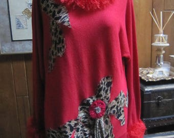 Art to Wear Red Sweater, Leopard, Upcycled, Reworked Top, Unique, Faux Fur, Romantic,