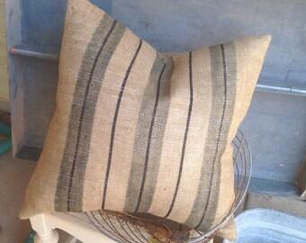 Burlap  French Grainsack Grey and Black Stripe Pillow   Farmhouse/Coastal Cottage/Beach Bungalow/Rustic Ranch/Industrial Loft