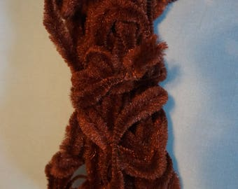 Vintage Chenille Bump Chocolate Brown   8 Yards  Retro Brown  Kitschy Arts and Crafts