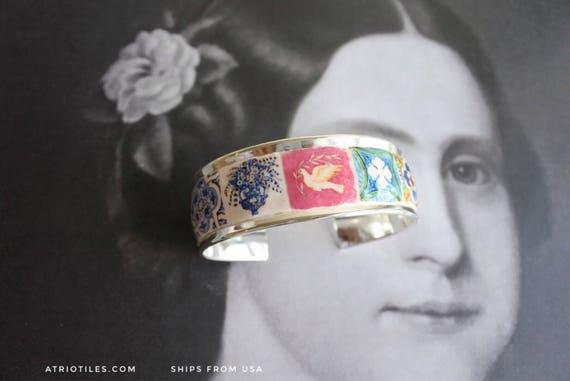 925 Silver Cuff Bracelet Portugal Antique Azulejo Tile Replicas  - Aveiro, Sintra, Porto, Etc.