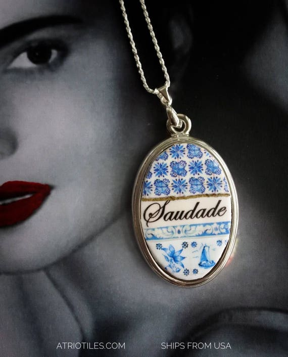 Necklace Tile Portugal BLUE Saudade Azulejo Braga and Delft Pasteis de Belem SILVER Chain - Ships from USA  (see Facade photo)  Gift Boxed