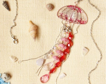 Silvery Pink Jellyfish Resin Charm Pendant Necklace, glittery under water sea creatures ocean life magical fantasy fairy tale jewelry