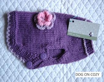 Button Dog Sweater, Handknit Pet Sweater, Size XSMALL, Lavander Jumper