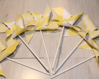 NEW - Pastel Yellow or Brite Yellow Pinwheel Collection (Qty 12) Pastel Yellow Pinwheels, Brite Yellow Pinwheels, Pinwheel Centerpieces