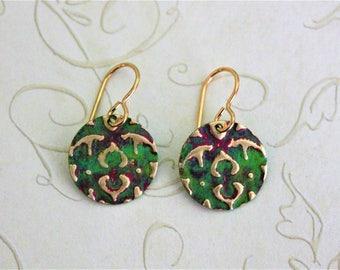 Small Petite Earrings, Vintaj Earrings, Pink and Green Jewelry, Dainty Jewelry, Patina Jewelry, Brass Jewelry, Etruscan, Made in Ohio