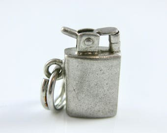 Vintage Sterling Silver Zippo Lighter Charm Mechanical Parts