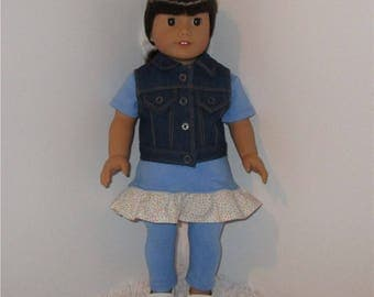 "Blue Knit Dress and Leggings with Jean Vest, Fits 18"" Dolls // AG Doll Clothes, Dresses, AG Modern, American Girl Doll, Denim Vest"