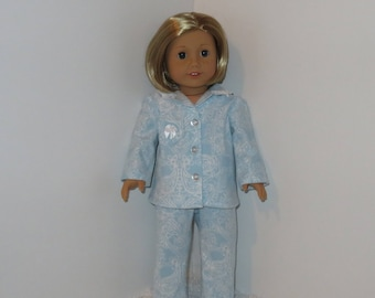 "Blue Flowered Pajamas, Fits 18"" Dolls // AG Pajama Set, American Girl, Doll Clothes, Sleepwear, Flannel PJs"