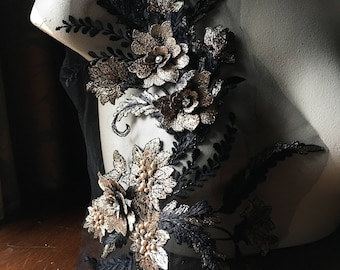 Black Gold Copper Applique #3 Beaded and Embroidered for GRAD, Lyrical Dance, Ballet, Couture Gowns, Costume Design