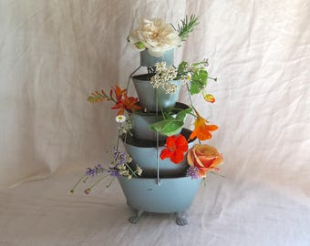 Antique French Flower Stand Tiered in Painted Blue Metal 19th Century France