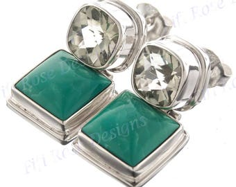 "1"" Turquoise Green Amethyst 925 Sterling Silver Post Earrings"