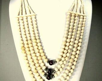 Tribal OxBone 5 Strand BIB Necklace,  Full Boho Breastplate Beads, 1990s, Very White  Cream Color