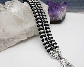 Silver and Black Jewelry, Beaded Metallic Wide Woven Bracelet, Edgy Bold Rocker Musician Designer Statement Piece, Zipper Inspired and Bold