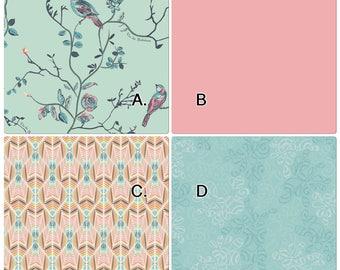 Baby Bedding Crib Set Coral Blush Pink Blue Vintage Bird and Floral