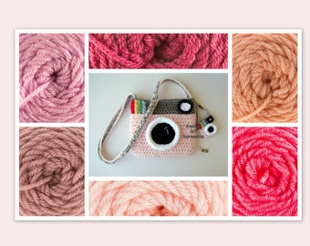 Camera Purse, Pink, Made to Order, Shades of Pink, Camera Bag,Stylish, Crochet, Fabric Lined, Cute Camera Bag, Handmade, Vintage Camera Bag