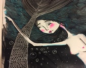 Original watercolor and ink painting - 'Little Mermaid' - Original Mixed Media Painting - Jessica von Braun - 2018 - OOAK Piece