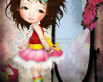 "50% Off SALE Fine Art Print Cute LIttle Girl Playing Dress Up ""Mielle"" 8.5x11 or 8x10 Premium Giclee Print of Original Artwork - Dress up Di"