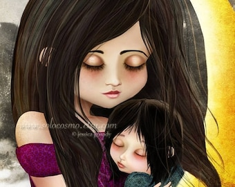 """50% Off SALE Fine Art Print """"Goodnight Baby"""" 8.5x11 or 8x10 - Mother and Daughter Embracing Fantasy Fairy Tale Portrait - Moon Mom Baby"""