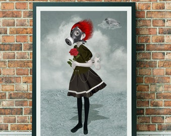 A3 Art print - Gas Mask Girl Art - Steampunk Art Print - Large Print - Inhale