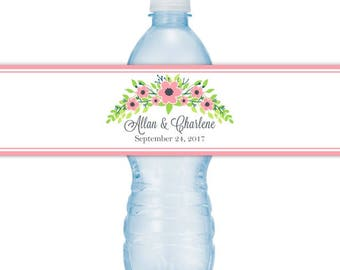 Pink Floral Wedding Water Bottle Labels, Custom Water Bottle Labels, Fit 16.9 oz water bottle