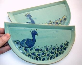 Peacock Plates - Plate Set – Half Circles – Half Moon – Handpainted ceramics – Painted Bird – Kitchen Décor – Serving Dish