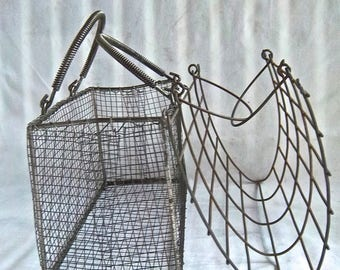Vintage Wire Baskets Painted Wire Basket Unfinished Wire Basket Vintage Home and Living Home Decor Vintage Home or Office Baskets Set of Two