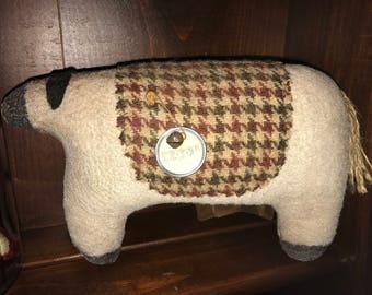 Primitive Folkart Sheep Doll with Wool Blanket Shelf Tuck
