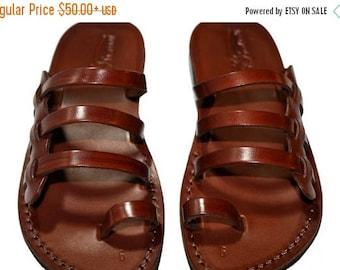 15% OFF Brown Sky Leather Sandals For Men & Women - Handmade Unisex Sandals, Flip Flop Sandals, Jesus Sandals, Genuine Leather Sandals