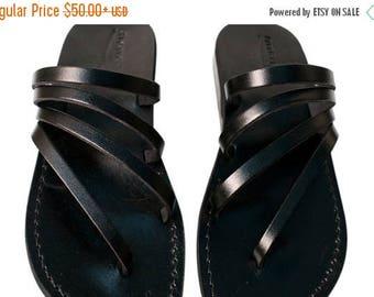 15% OFF Black Rainbow Leather Sandals For Men & Women - Handmade Unisex Sandals, Flip Flop Sandals, Jesus Sandals, Black Leather Sandals