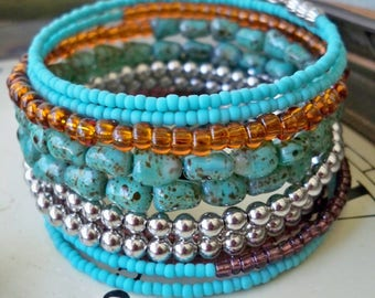 Southwest Colors One Wrap Bracelet - Seed Beads - Boho cuff - Bohemian bracelet - One size fits all - bycat