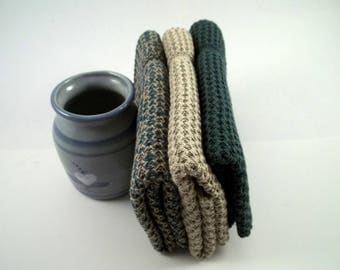 Dishcloths Knit in Cotton in Hemlock, Putty and DustyTeal/Camel, Knit Washcloth, Dishcloth, Wash Cloth, Dish Cloth,
