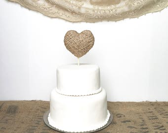 Wedding Cake Topper - 2 sizes- jute twine or ivory cotton heart cake topper - wedding decor, baby shower - matches wedding ring holder