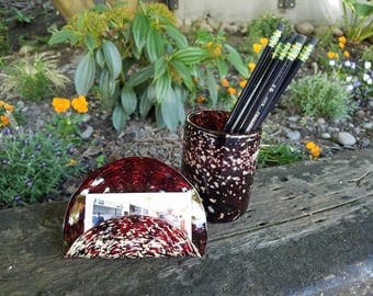Burgundy Red and Ivory Spotted Blown Glass Desk Set, 2-Piece Accessories, with Business Card Holder and Pen Cup By Avalon Glassworks